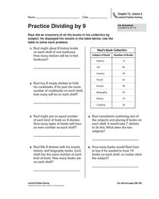 Practice Dividing by 9 Worksheet