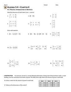 Practice: Introduction to Matrices Worksheet