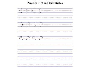 Practice Printing - 1/2 and Full Circles Worksheet