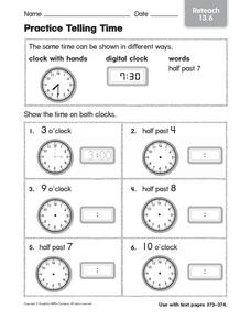 Practice Telling Time Reteach 13.6 Worksheet