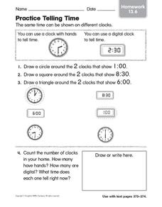 Practice Telling Time Worksheet