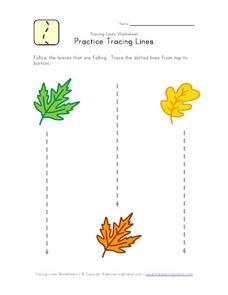 Practice Tracing Lines (Straight) Worksheet