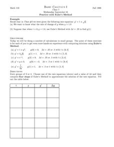 Practice with Euler's Method Worksheet