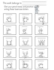 Practice Writing Lowercase Letters Worksheet