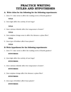 Practice Writing Titles and Hypotheses Worksheet