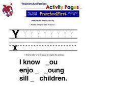 Practicing the Letter Yy Worksheet