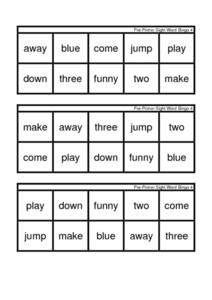 Pre-Primer Sight Word Bingo 4 Worksheet
