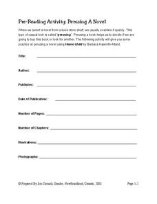 Pre-Reading Activity Worksheet