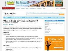 Preamble to the Constitution: What is Good Government? Lesson Plan
