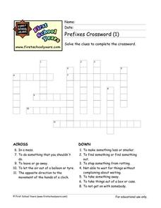 Prefixes Crossword (1) Worksheet