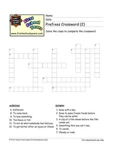 Prefixes Crossword (2) Worksheet