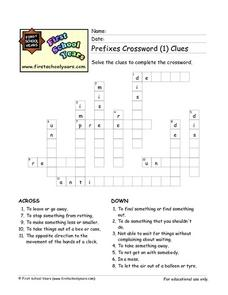 Prefixes Crossword Puzzle Worksheet