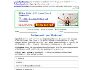 "Prefixes ""out"" and ""pro"" Worksheet Worksheet"