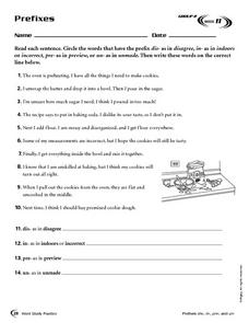 Prefixes: Week 11 Worksheet