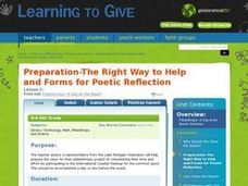 Preparation -- The Right Way to Help and FOrm for Poetic Reflection Lesson Plan
