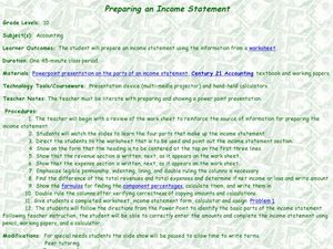 Preparing an Income Statement Lesson Plan