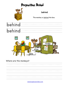 Preposition: Behind Worksheet
