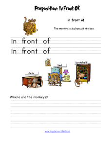 Preposition: In front of Worksheet