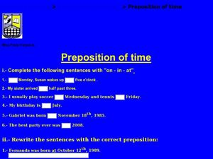 Preposition of Time Worksheet