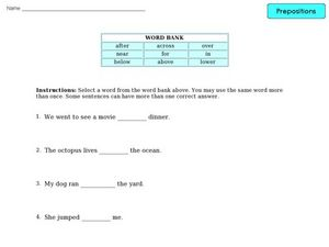 Prepositions 2 Worksheet