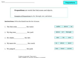 Prepositions 6 Worksheet