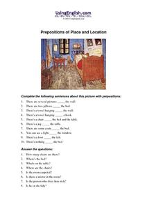 Prepositions of Place and Location Worksheet