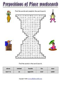 Prepositions of Place Word Search Worksheet