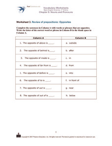 Prepositions: Opposites Worksheet