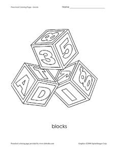 Preschool Coloring Page - Blocks Worksheet