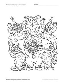 Preschool Coloring Page-Clown Pyramid Worksheet