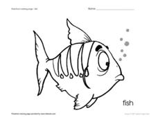 Preschool Coloring Page - Fish Worksheet