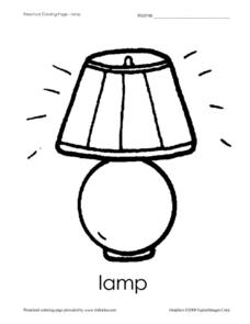 Preschool Coloring Page: Lamp Worksheet