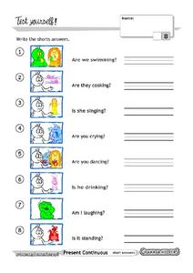 Present Continuous Form: Grammar Test Worksheet