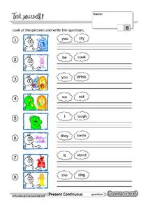 Present Continuous Grammar Test Worksheet