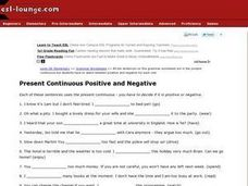 Present Continuous Positive and Negative Worksheet