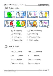 Present Continuous: Positive Form Worksheet