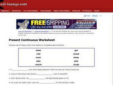 Present Continuous Worksheet Worksheet