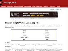 Present Simple Verbs: Letter Gap Fill Worksheet