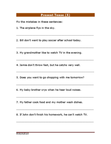 Present Tense (5) Worksheet