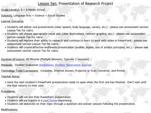 Presentation of Research Project Lesson Plan