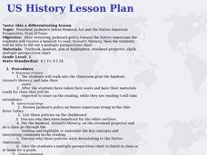 President Jackson's Indian Removal Act and the Native American Perspective, Trail of Tears Lesson Plan