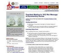 President Madison's 1812 War Message: A Documentary Review Lesson Plan
