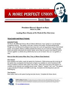 President Obama's Speech on Race    March 18, 2008 Lesson Plan