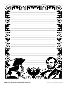 President's Day Writing Paper Printables & Template