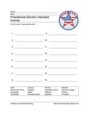 Presidential Election Alphabet Activity Worksheet