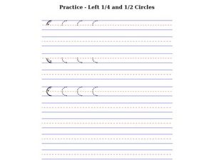 Prewriting Practice: Left 1/4 and 1/2 Circles Worksheet