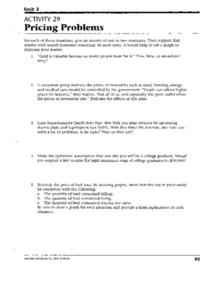 Pricing Problems Worksheet