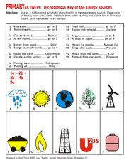 Primary Activity: Dichotomous Key of Energy Sources Worksheet