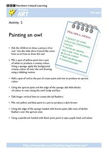 Primary Art:  Painting an Owl Worksheet