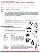 Primary/Elementary Activity: Active Energy Sources Worksheet